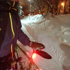 MTBで雪遊び