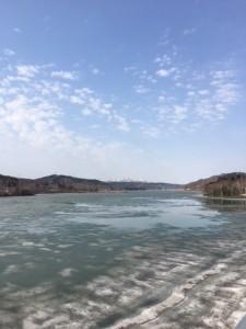 湖、凍ってます。